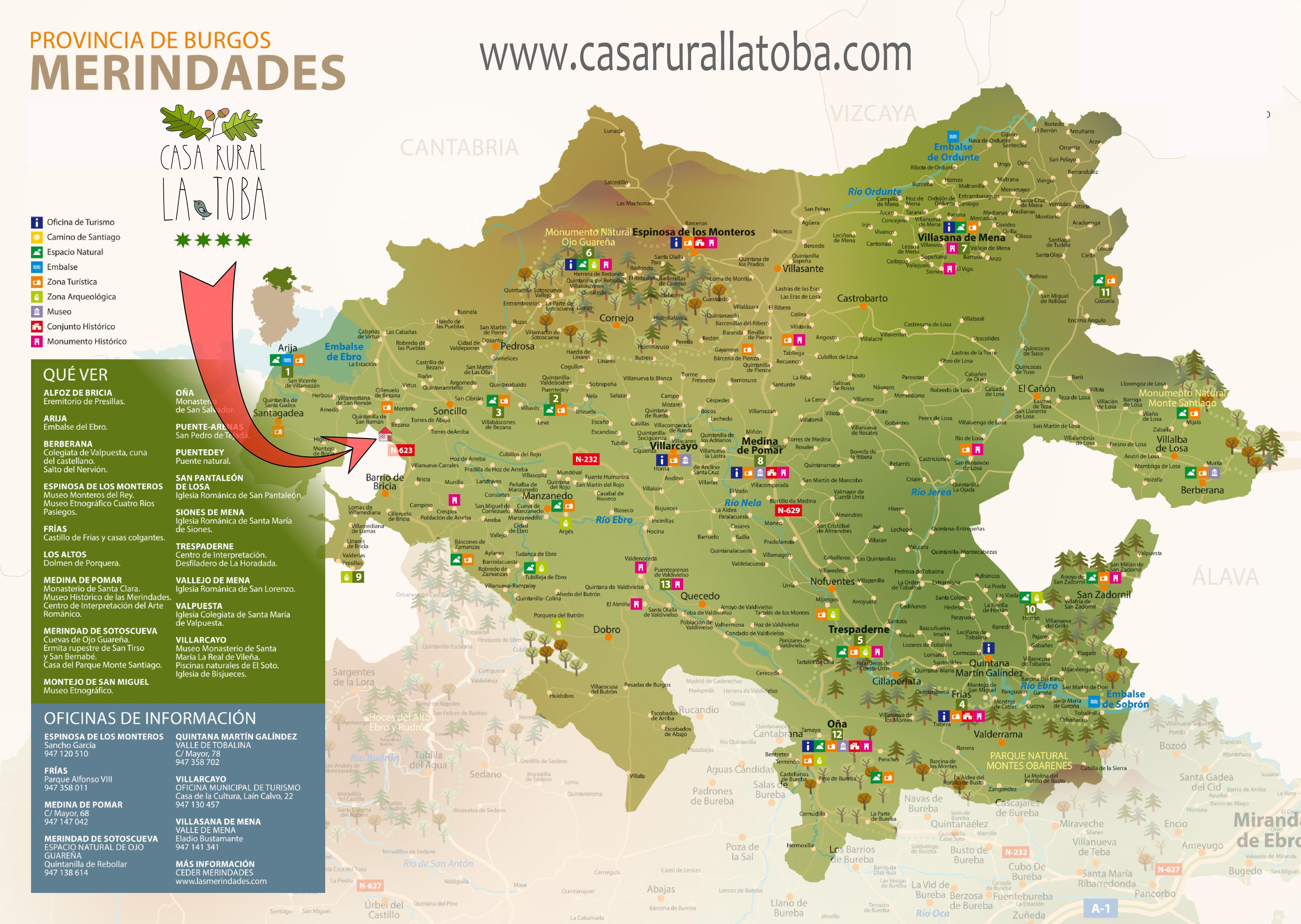 Mapa Turistico Burgos Provincia.Mapa Turistico De Las Merindades Para Descargar Casa Rural