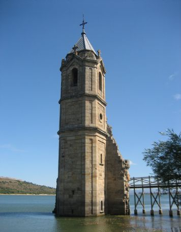Bell tower that emerges from the waters of the Ebro Reservoir