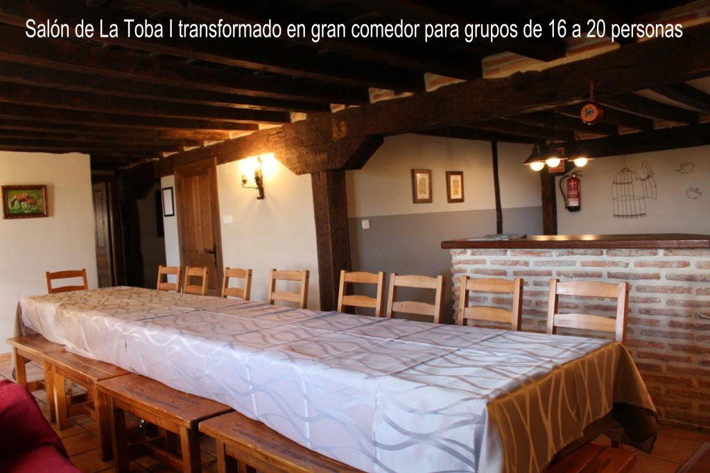 Sitting/dining room in La Toba I, converted in large dining room for groups of 16 or 20 people